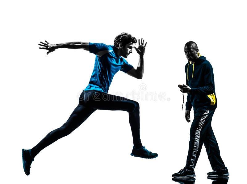 De sprinter van de mensenagent met buschronometer royalty-vrije stock afbeeldingen