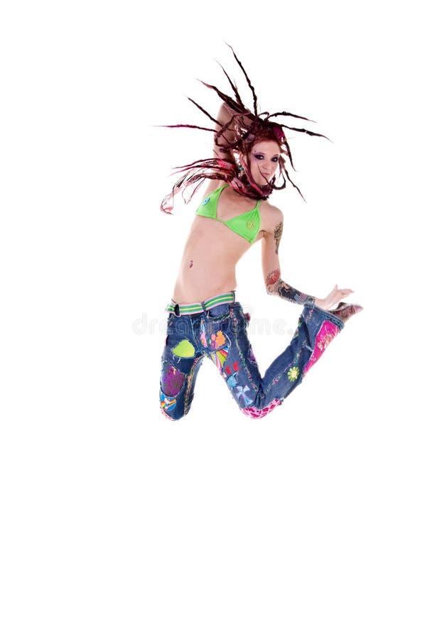 De Sprong van het Meisje van de Hippie van het slot van de ontzetting royalty-vrije stock afbeeldingen