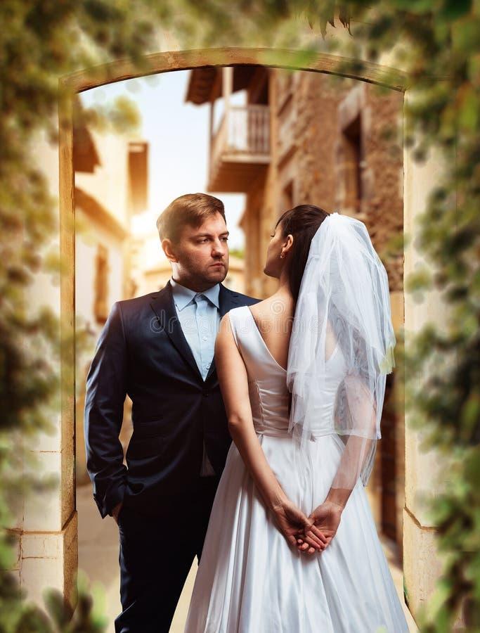 De spruit van de huwelijksfoto van mooie jonggehuwden royalty-vrije stock foto's