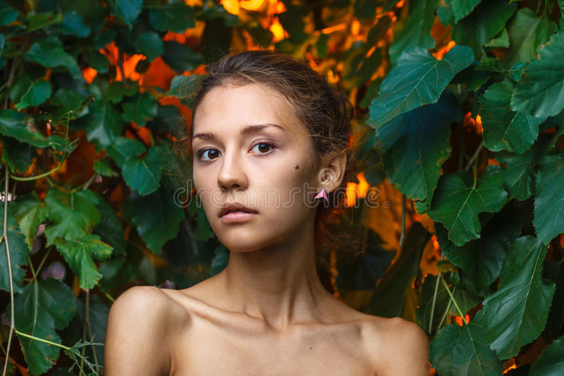 De spruit van het manierportret van een mooi tienermeisje stock afbeeldingen