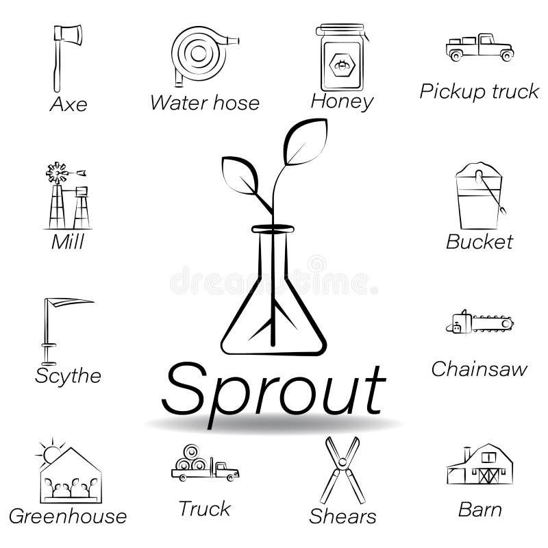 De spruithand trekt pictogram Element van de landbouw van illustratiepictogrammen De tekens en de symbolen kunnen voor Web, emble stock illustratie