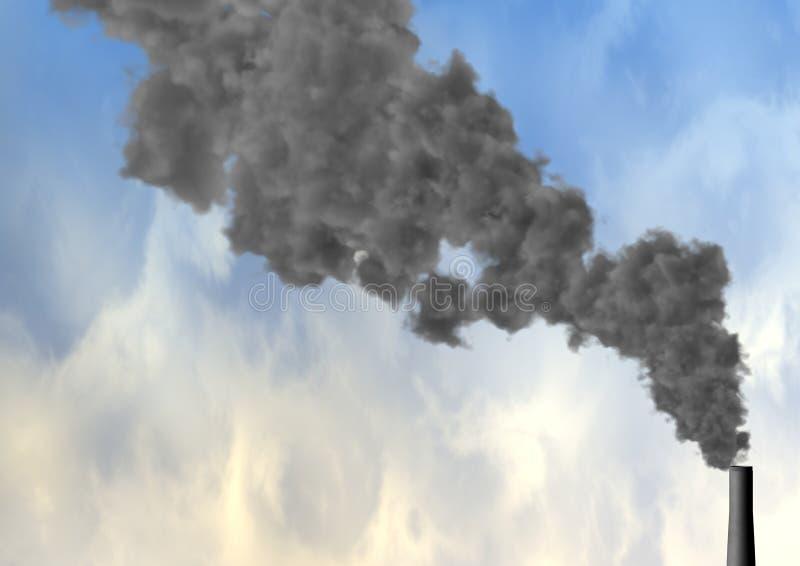 De spuitende rook van de schoorsteen royalty-vrije illustratie