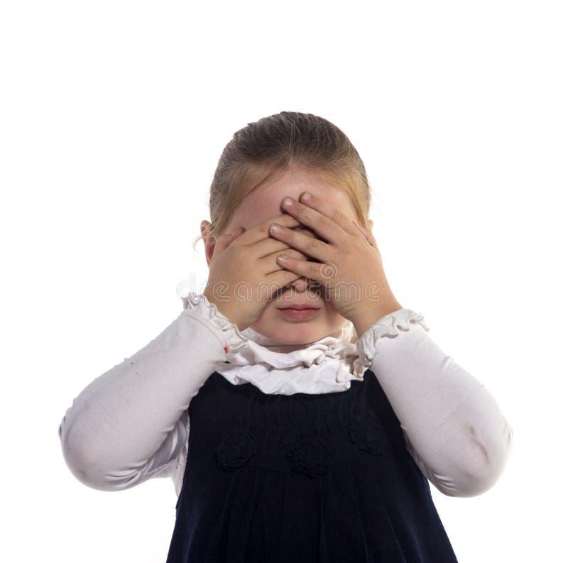 Download De Stängda ögonhänderna För Flicka Arkivfoto - Bild av vitt, barn: 27278552