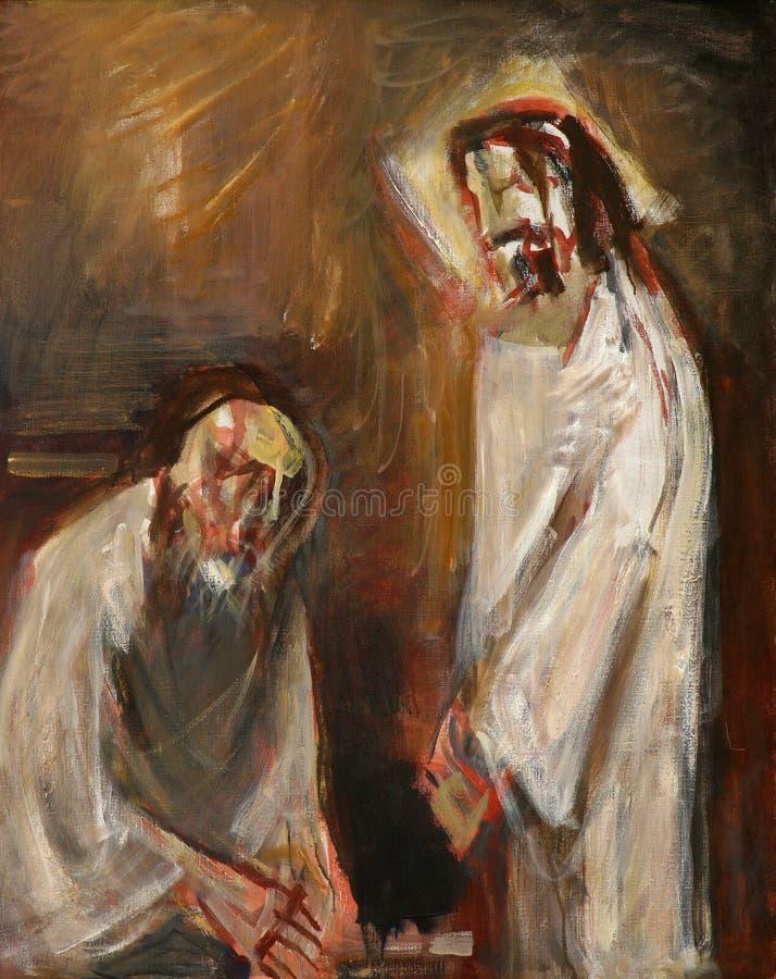 de 1st Posten van het Kruis, Jesus wordt veroordeeld aan dood royalty-vrije stock afbeelding