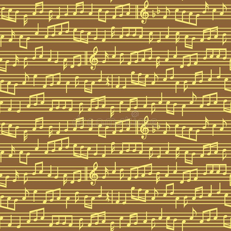 De staaf met muziek neemt nota van naadloos patroon Bruin en gouden vector het blad naadloos patroon van muzieknota's stock illustratie
