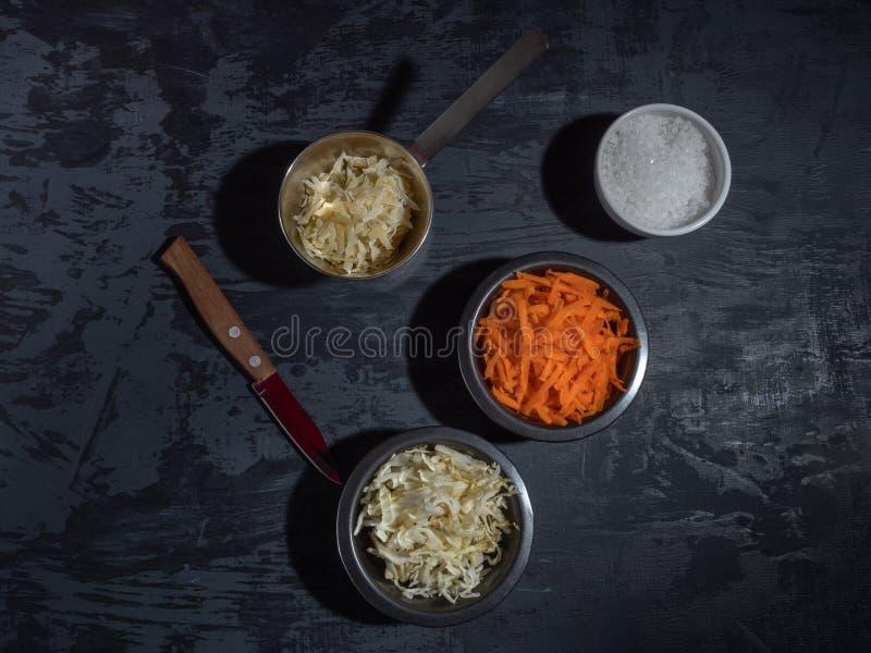 De staaf voor salade, gesneden wortelkool in zwarte platen, raspte kaas royalty-vrije stock foto