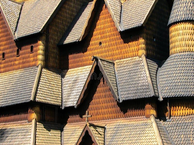 De staafkerk van Heddal stock afbeeldingen