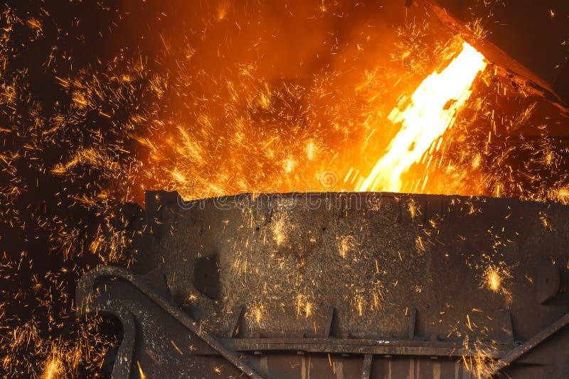 De staalfabrieken smelten het gesmolten staal stock foto's
