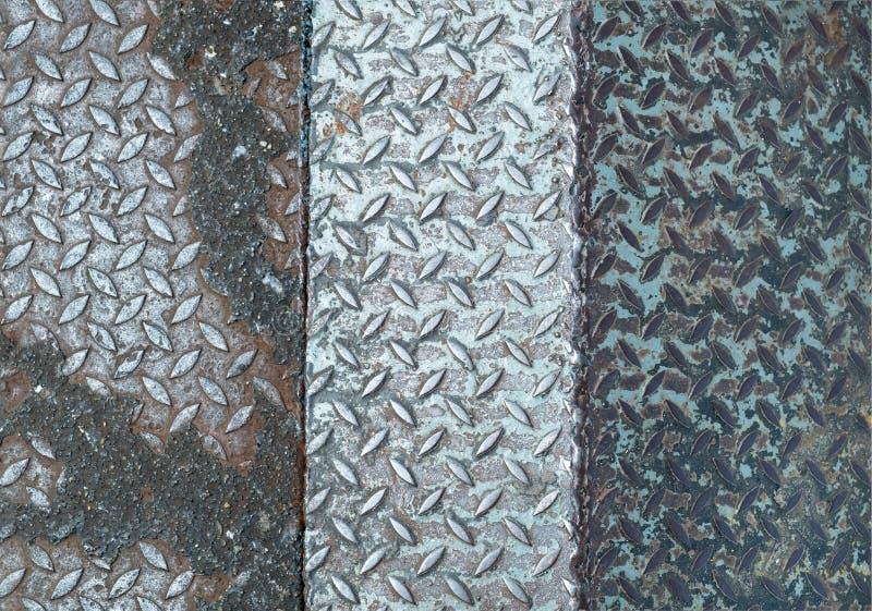 De staaltextuur plateert samen vloerlassen stock fotografie