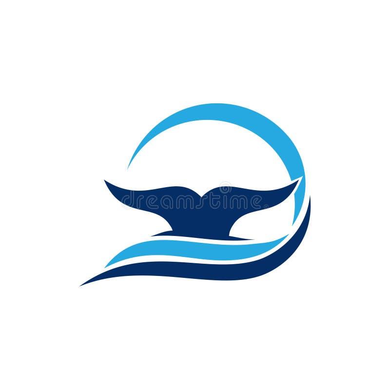 De Staart Dive Underwater Logo Template van de Blauwe vinvisvin stock illustratie