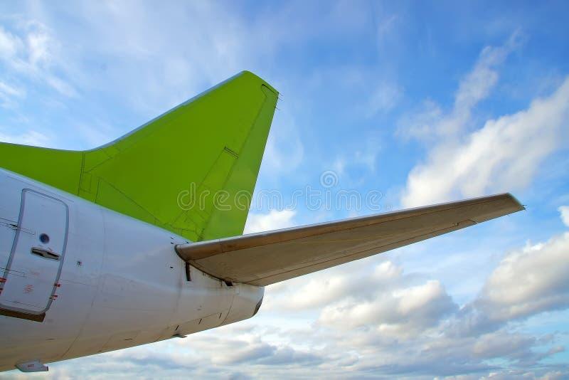 De staart van het vliegtuig stock foto's