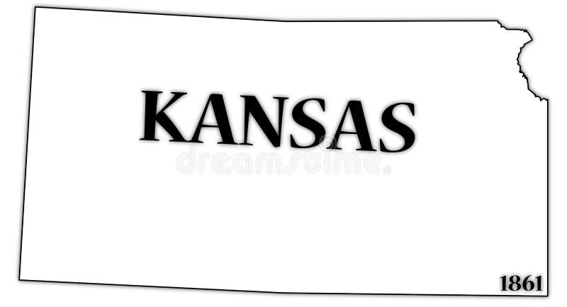 De Staat en de Datum van Kansas royalty-vrije illustratie