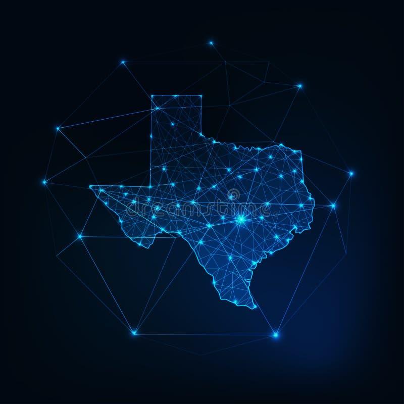 De staat de V.S. van Texas brengt gloeiend die silhouetoverzicht in kaart van de punten van sterrenlijnen, lage veelhoekige vorme royalty-vrije illustratie