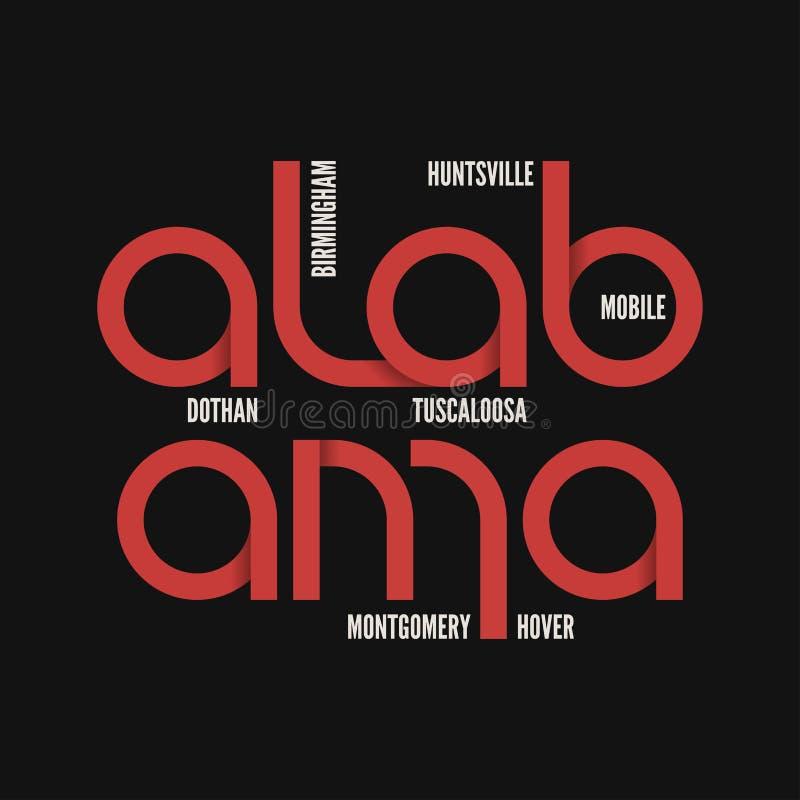 De staat van Alabama T-shirt en kledings vectorontwerp, druk, typogra royalty-vrije illustratie