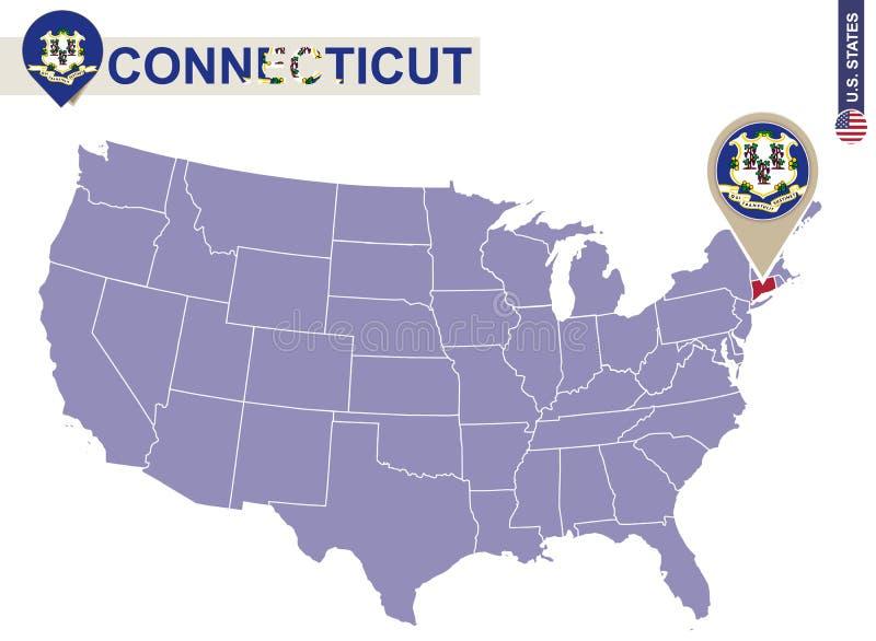 De Staat van Connecticut op de Kaart van de V.S. De vlag en de kaart van Connecticut stock illustratie