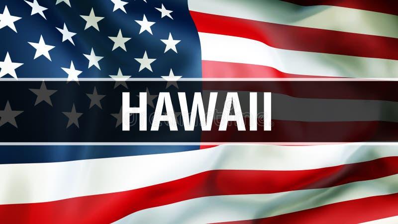 De staat van Hawaï op een de vlagachtergrond van de V.S., het 3D teruggeven De vlag die van de Verenigde Staten van Amerika in de royalty-vrije illustratie