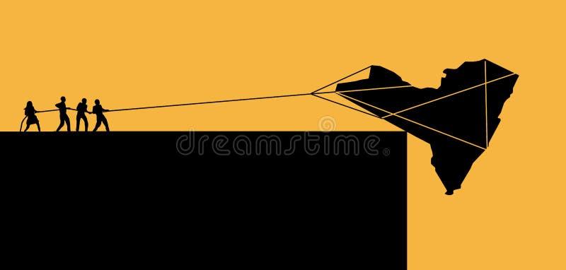 De staat van New York, de V.S., wordt gezien op de rand Een silhouet van de staat staat over een klip te vallen op het punt zoals stock illustratie