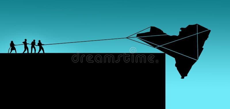 De staat van New York, de V.S., wordt gezien op de rand Een silhouet van de staat staat over een klip te vallen op het punt zoals royalty-vrije illustratie