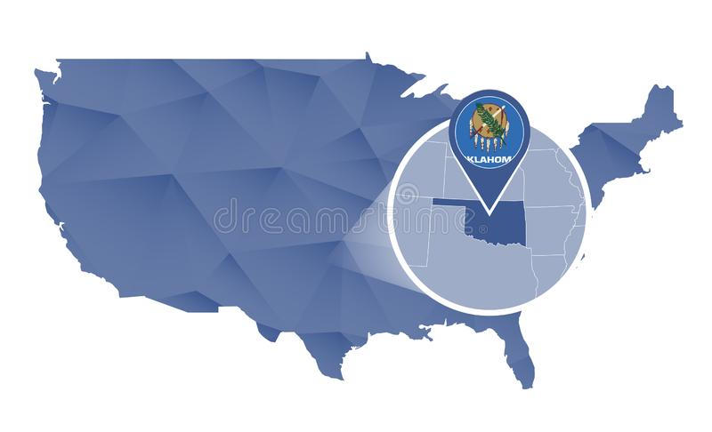 De Staat van Oklahoma op de kaart die van Verenigde Staten wordt overdreven vector illustratie
