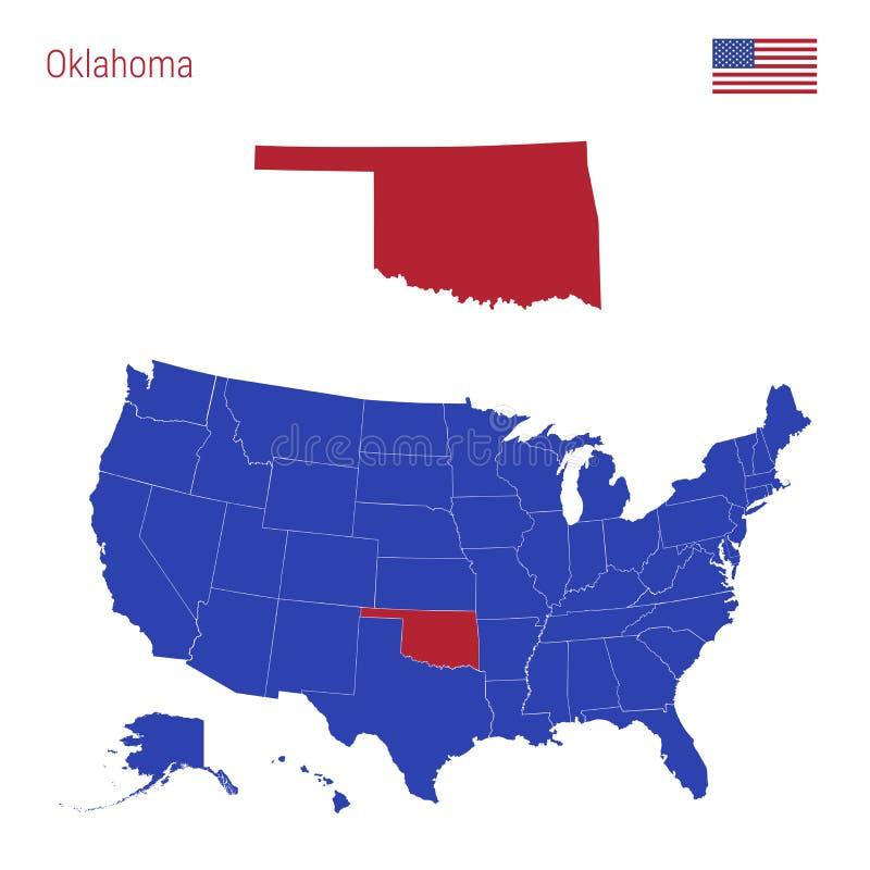 De Staat van Oklahoma wordt benadrukt in Rood VectordieKaart van de Verenigde Staten in Afzonderlijke Staten worden verdeeld stock illustratie