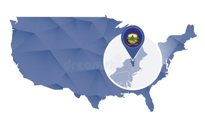 De Staat van Vermont op de kaart die van Verenigde Staten wordt overdreven vector illustratie