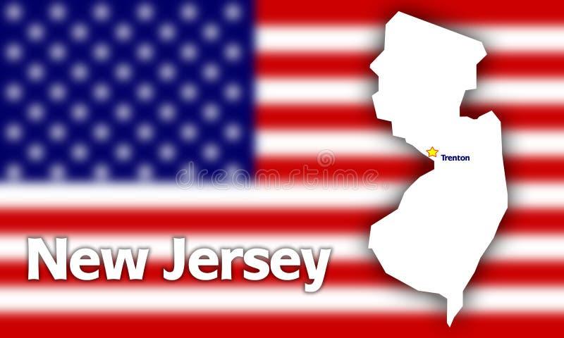De staatscontour van New Jersey stock illustratie