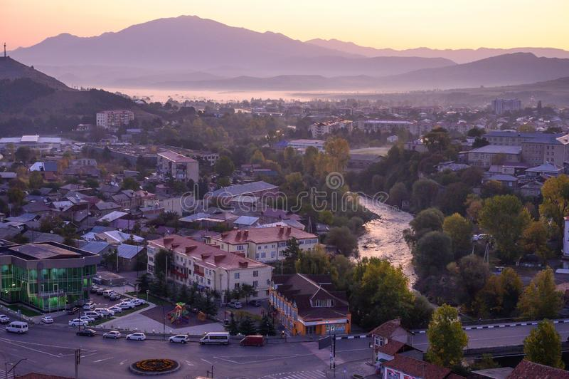 De stad Akhaltsikhe is beroemde georgiaanse toeristische plaatsen, Georgia stock afbeelding