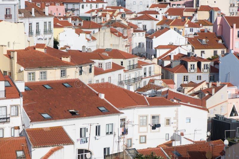 De stad Alabama Lissabon van Portugal over het Alfama-district op daglicht stock afbeelding