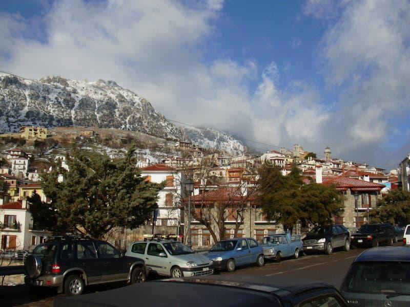 De stad Boeotia Griekenland van de Arachovaberg stock foto