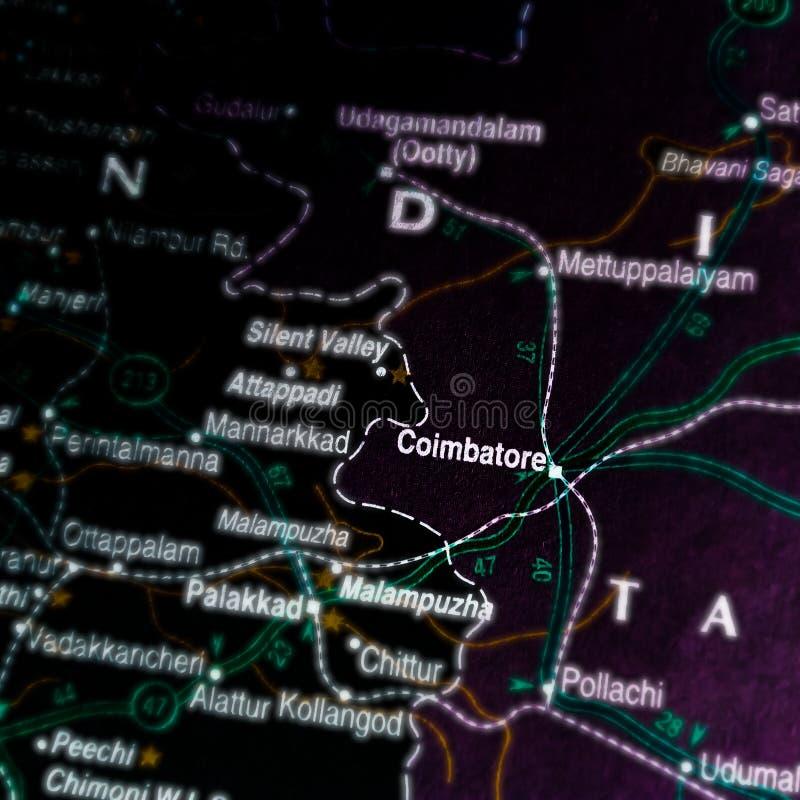 De stad Coimbatore in India, de Zuid-religie, toont op zwarte achtergrond stock foto's