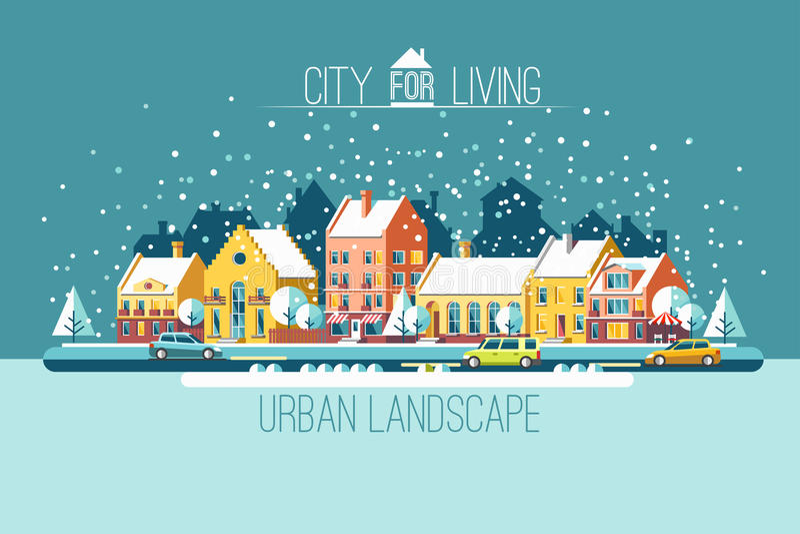 De stad in de wintervakantie stock illustratie