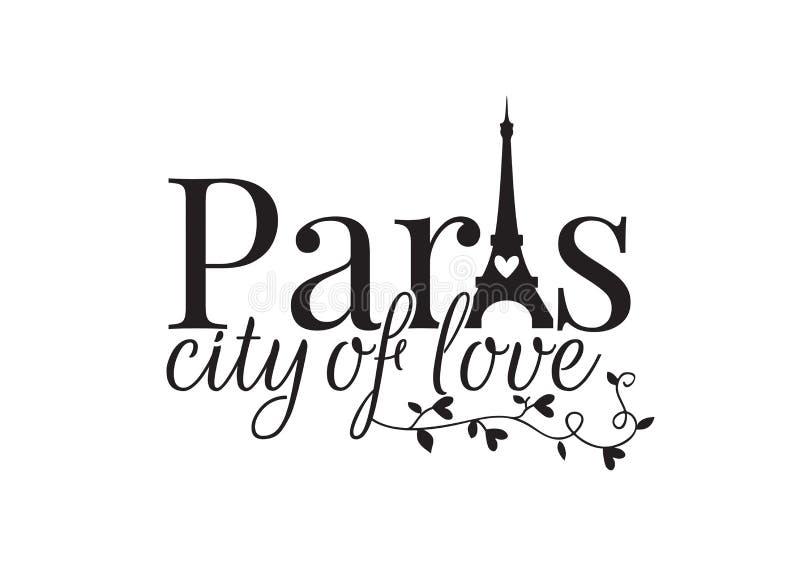 De stad die van Parijs van liefde, ontwerp, Muuroverdrukplaatjes, de Toren van Eiffel verwoorden royalty-vrije illustratie
