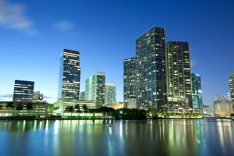 De stad in en Brickell-district in Miami stock afbeelding