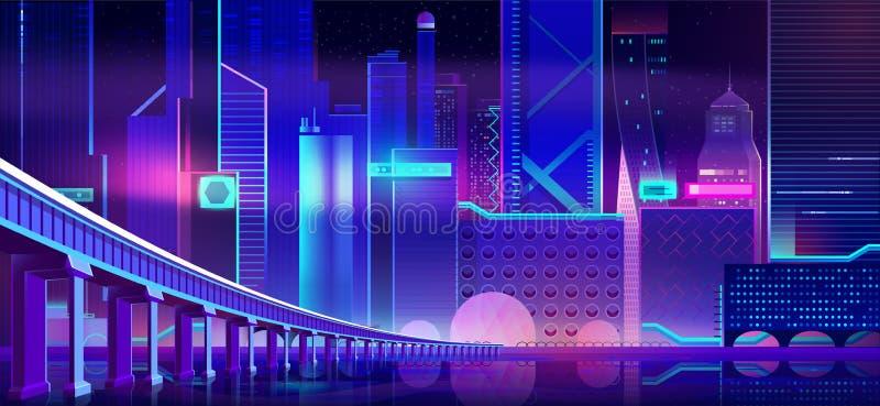 De stad en de brug van het nachtneon boven baaiwaterspiegel vector illustratie