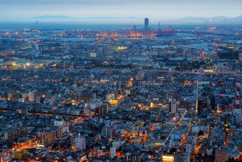 De stad en de horizon van Osaka stock afbeeldingen