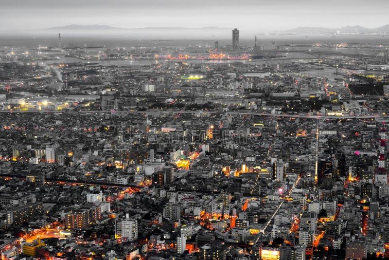 De stad en de horizon van Osaka stock afbeelding