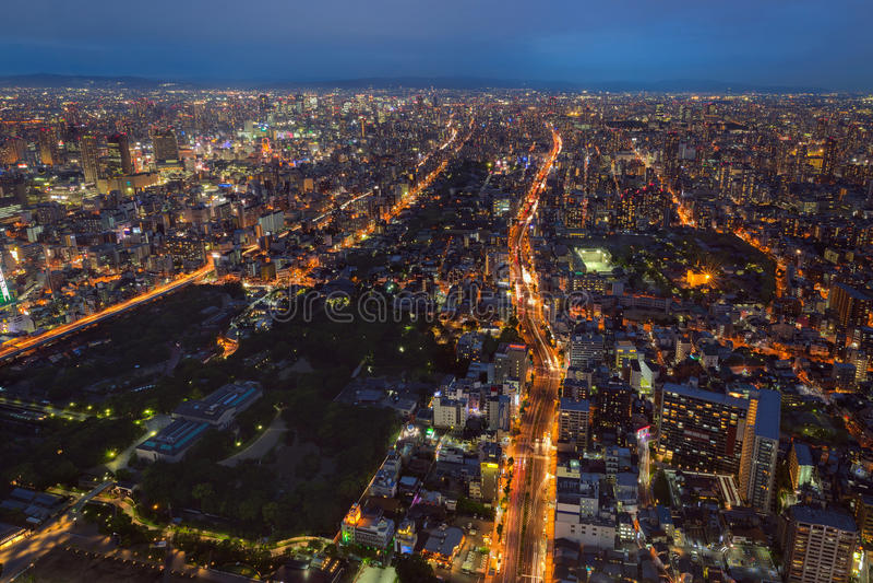De stad en de horizon van Osaka royalty-vrije stock foto's