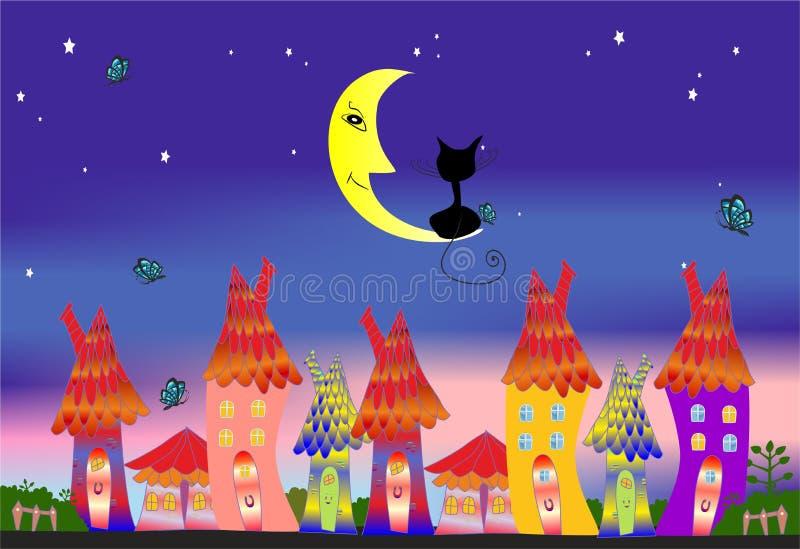 De stad en de kat vector illustratie