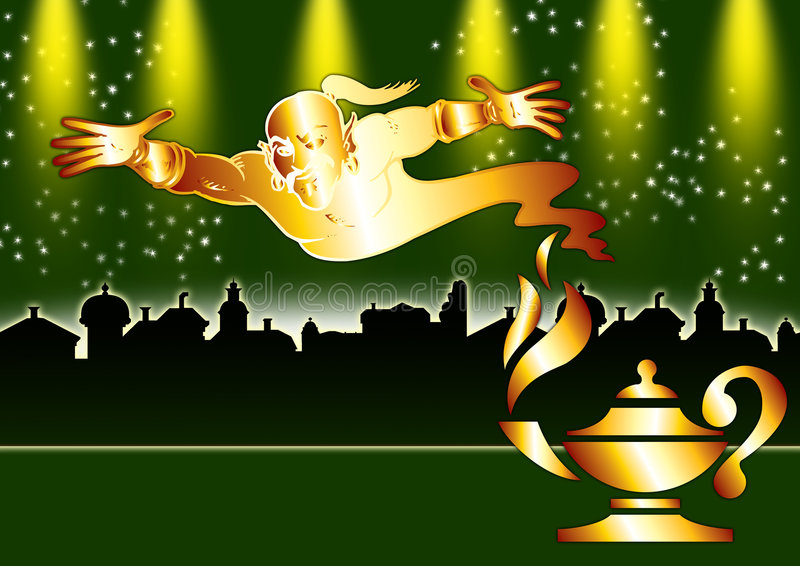 De stad en de Lamp van Aladdin stock illustratie