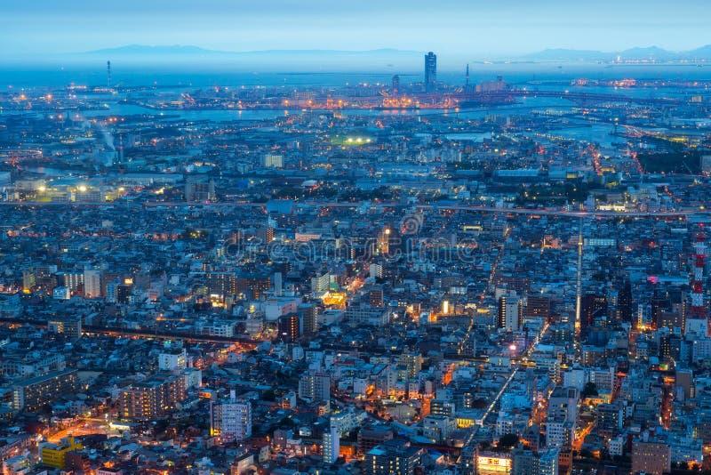 De stad en de horizon van Osaka royalty-vrije stock afbeeldingen