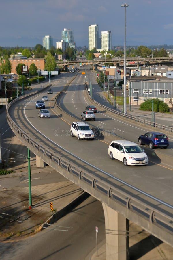 De Stad en de Verhoogde weg van Vancouver royalty-vrije stock afbeelding