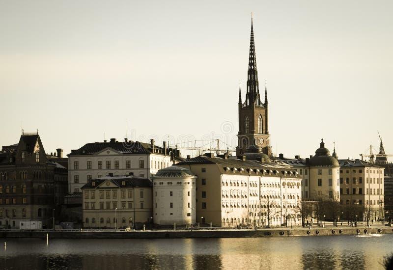 De stad en de zonsopgang van Stockholm royalty-vrije stock afbeeldingen