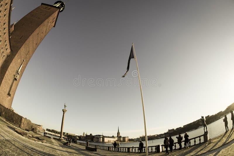 De stad en de zonsopgang van Stockholm royalty-vrije stock afbeelding
