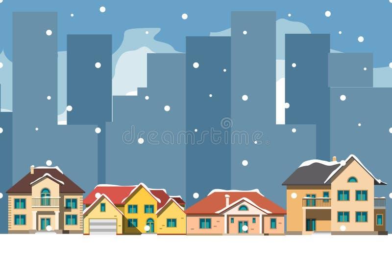 De stad in Kerstmis Stedelijk Landschap vector illustratie