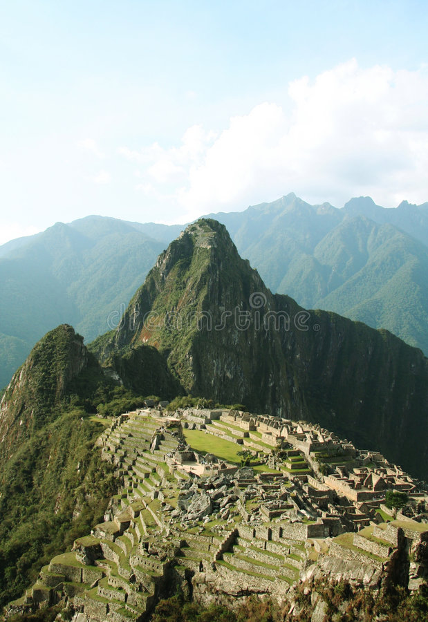 De stad machu-Picchu van Incas in Peru stock foto's