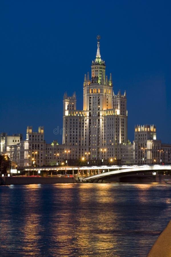 De stad Moskou van de nacht stock afbeeldingen