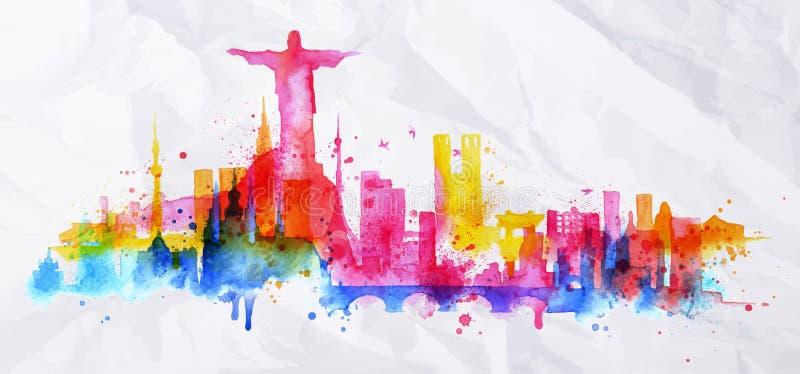 De stad Rio de Janeiro van de silhouetbekleding royalty-vrije illustratie