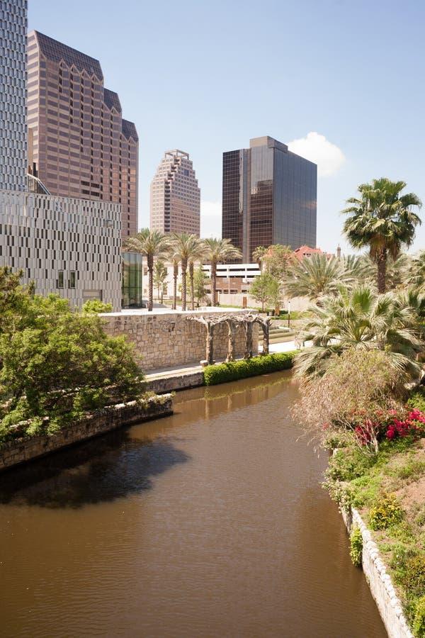 De Stad Riverwalk Van de binnenstad van San Antonio River Flows Thru Texas stock fotografie