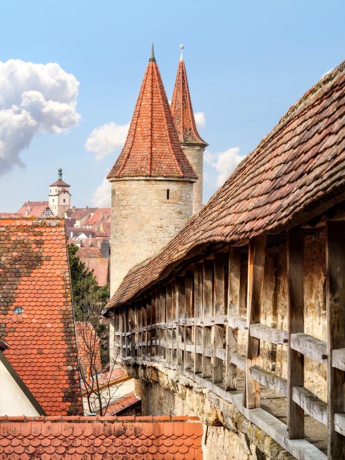 De Stad Rothenburg van het Mediavalsprookje stock fotografie