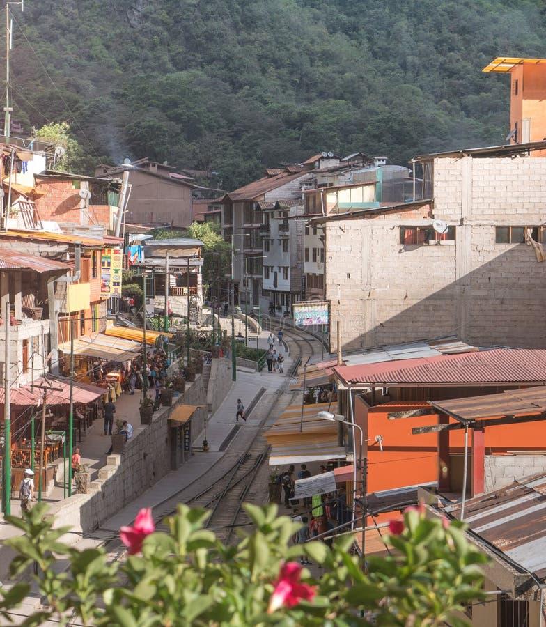 De stad van Aguascalientes in Cusco, Machu Picchu, Peru stock afbeelding